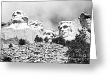 Beneath Mount Rushmore National Monument South Dakota Black And White Greeting Card