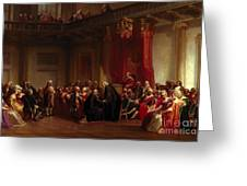 Benjamin Franklin Appearing Before The Privy Council  Greeting Card