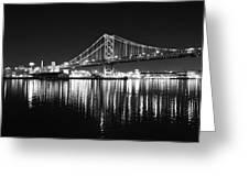 Benjamin Franklin Bridge - Black And White At Night Greeting Card