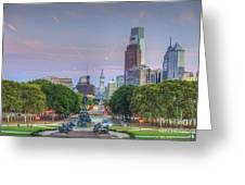 Benjamin Franklin Parkway City Hall Greeting Card