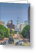 Benjamin Franklin Parkway City Hall Vertical Greeting Card