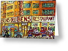 Ben's Famous Smoked Meat Montreal Memories Canadian Paintings Hockey Scenes And Landmarks  C Spandau Greeting Card