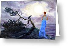 Bent Cypress And Blue Lady Greeting Card