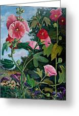 Bent Hollyhocks Greeting Card