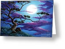Bent Pine Tree At Moonrise Greeting Card
