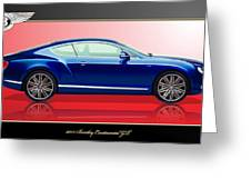 Bentley Continental Gt With 3d Badge Greeting Card