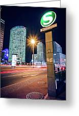 Berlin - Potsdamer Platz Square At Night Greeting Card