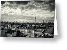 Berlin Skyline And Roofscape -black And White Greeting Card