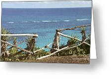 Bermuda Fence And Ocean Overlook Greeting Card