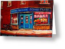 Bernard Fruit And Broomstore Greeting Card
