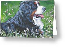 Bernese Mountain Dog In Wildflowers Greeting Card