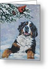Bernese Mountain Dog With Cardinal Greeting Card