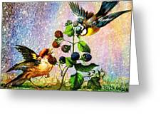 Berries And Birds Greeting Card