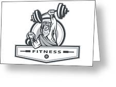 Berserker Lifting Barbell Kettlebell Fitness Circle Retro Greeting Card