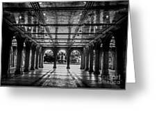 Bethesda Terrace Arcade 2 - Bw Greeting Card