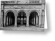 Bethesda Terrace Arcade 4 - Bw Greeting Card