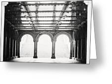 Bethesda Terrace In Black And White Greeting Card