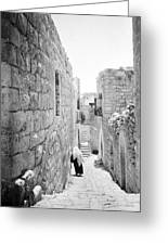 Bethlehem - Old Woman Walking 1933 Greeting Card