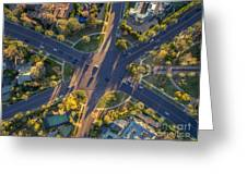 Beverly Hills Streets, Aerial View Greeting Card
