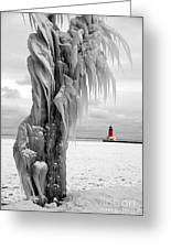 Beyond The Ice Reaper's Grasp -  Menominee North Pier Lighthouse Greeting Card