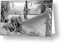 Beyond The Icy Gate - Menominee North Pier Lighthouse Greeting Card