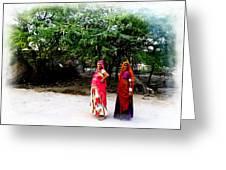 Bff Best Friends Pregnant Women Portrait Village Indian Rajasthani 1 Greeting Card