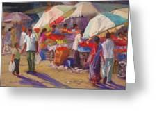 Bhuj Street Market Greeting Card by Beth Brooks