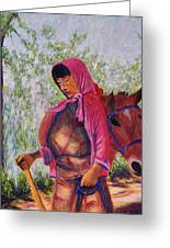 Bhutan Series - Woman With The Horse Greeting Card