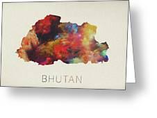 Bhutan Watercolor Map Greeting Card