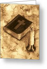 Bible And Candle Greeting Card