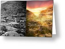 Bible - Psalm 23 - Yea, Though I Walk Through The Valley 1920 - Side By Side Greeting Card