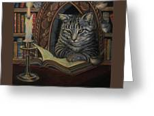Bibliocat Reads To His Friends Greeting Card