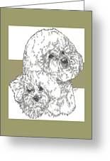 Bichon Frise And Pup Greeting Card