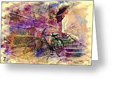 Bicycle Abandoned In India Rajasthan Blue City 1a Greeting Card