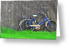 Bicycle And Gray Fence Greeting Card