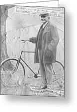 Bicycle And Jd Rockefeller Vintage Photo Art Greeting Card