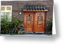 Bicycle And Wooden Door Greeting Card
