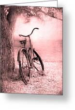 Bicycle In Pink Greeting Card by Sophie Vigneault