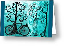 Bicycle In Whimsical Forest Greeting Card
