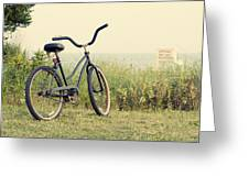 Bicycle On Beach Summer's On The Coast Greeting Card