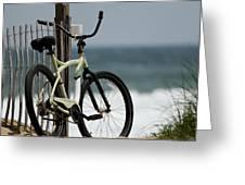 Bicycle On The Beach Greeting Card by Julie Niemela