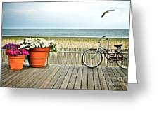 Bicycle On The Ocean City New Jersey Boardwalk. Greeting Card