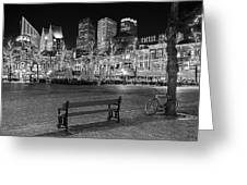 Bicycle On The Plein At Night - The Hague  Greeting Card