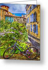 Bicycle On The Square Greeting Card