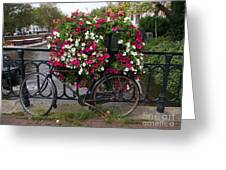 Bicycle Parked At The Bridge In Amsterdam Greeting Card