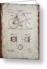 Bicycle Patent Drawing 4a Greeting Card