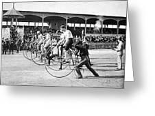 Bicycle Race, 1890 Greeting Card