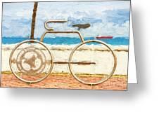 Seaside Bicycle Stand Greeting Card