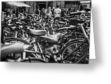 Bicycles Amsterdam Black And White Greeting Card