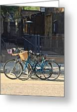 Bicycles On Main Street Greeting Card